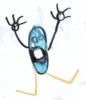 Dibujo de José sobre el texto de Cortázar 'Aplastamiento de las gotas'.