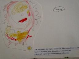 El ogro se transformó en un fiero león. Ilustración de Iván.
