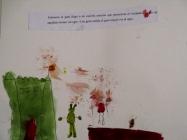 Jimena dibuja al ogro (conjuntado con su castillo) recibiendo al gato.