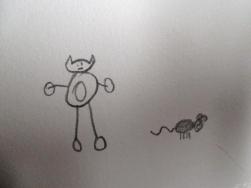 El gato justo antes de lanzarse contra el ogro, ahora transformado en ratón. Ilustración de Jimena.