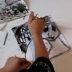 Dibujo de Marcos (8 años) trabajando diversas técnicas con tinta china.