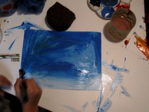 Jimena pintando
