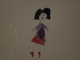 Personaje de Jimena, ya con su vestido estampado.